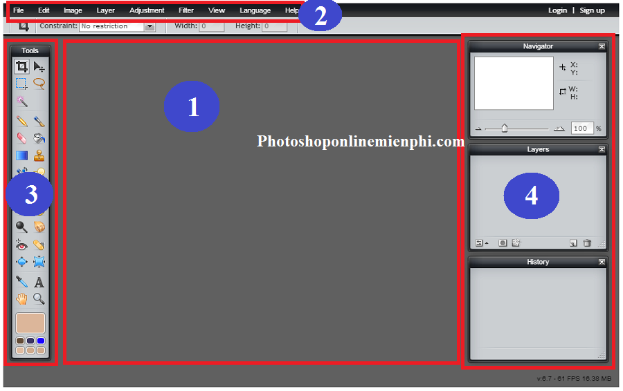 Giao diện của PhotoShop Online