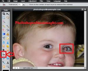 Hướng dẫn sửa ảnh bị mắt đỏ nhanh với Photoshop Online