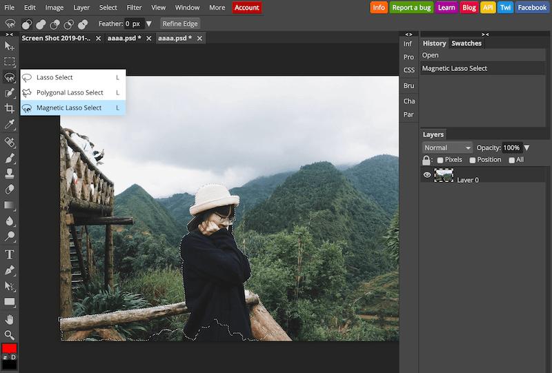 Sử dụng công cụ Magnetic Lasso Select để chọn vùng hình ảnh mong muốn