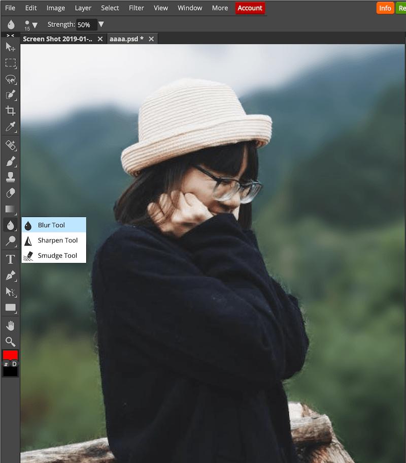 Sử dụng công cụ Blur tool để hoàn thiện vùng đường viền xung quanh cô gái