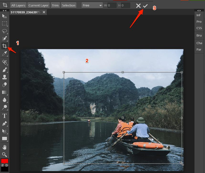 Nhấn vào Image trên thanh menu→ chọn Image Size