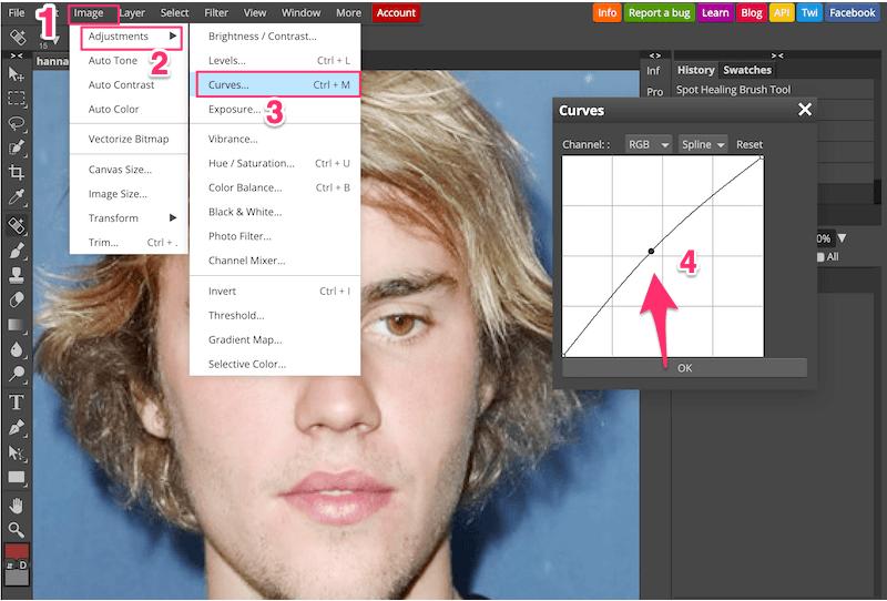 Chỉnh sáng da mặt bằng các thao tác: Chọn Image→ Adjustments→ Curves→ Tuỳ chỉnh độ sáng và độ tương phản