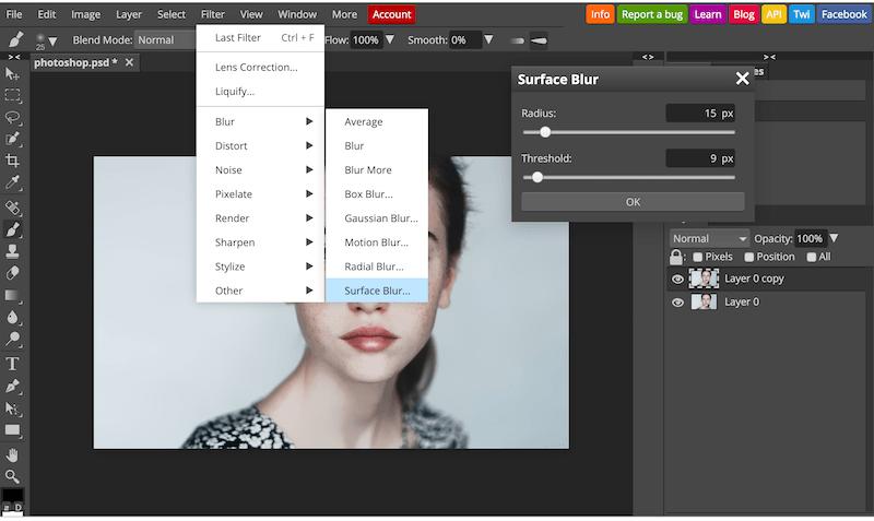 Sử dụng Surface Blur để làm bớt đi phần nào tàn nhang trên khuôn mặt