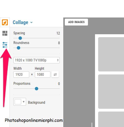 Nhấn nút Collage settings như hình dưới để thay đổi các thông số của khung hình ghép